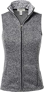 Awesome21 Women's Solid Yarn Dyed Fleece Zipper Vest