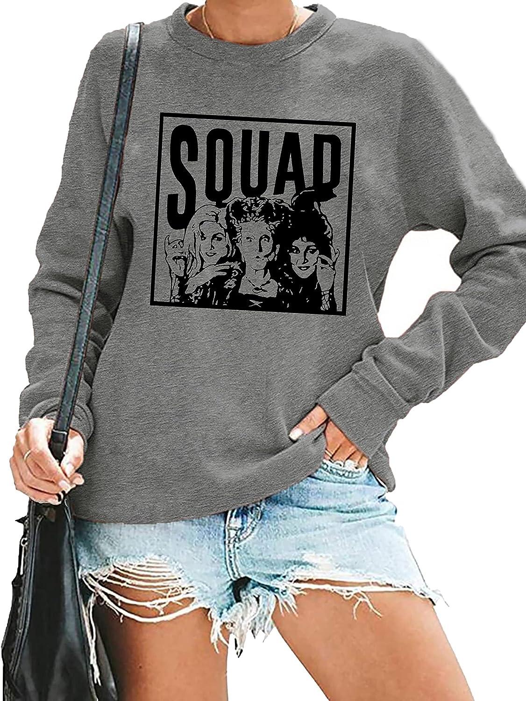 Halloween Squad Sweatshirt Womens Hocus Pocus Long Sleeve Shirts Sanderson Sisters Pullover Tops Blouse