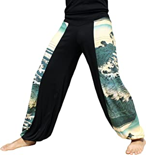 RaanPahMuang 侧贴 Billowy 裤子 Woodblock Art Fisherman Under Japans Fuji