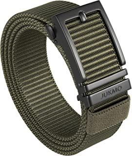 """JUKMO Ratchet Belt for Men, Nylon Web Tactical Gun Belt with Automatic Slide Buckle, Army Green, Small-for Waist 34""""-37""""(L..."""