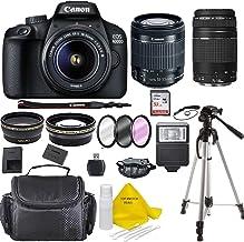 Canon EOS 4000D Digital SLR Camera w/ 18-55 Lens Kit + Canon 75-300 Lens Black w/Accessory...