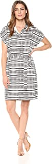 Lark & Ro Amazon Brand Women's Short Sleeve Hidden Placket Shirt Dress