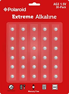 Polaroid Extreme AG3 LR41 384 392 L736 S736S 192 1.5V Button Cell Alkaline Batteries No Mercury 0 Hg (30-Pack) - 2025 Expiry Date