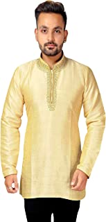 Desi Sarees Men's Kurta Tunic Shirt Occasion Party Wear 2009 (Chest- 46 inches, Beige)