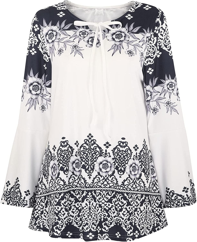 Autumn t-Shirts Tops Women Chinoiserie Printed Trumpet Sleeve Top Shirt Keyhole T-Shirt Black