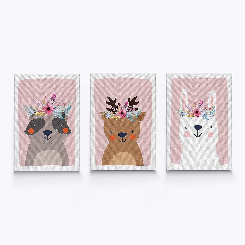 HB Art Design Raccoon Deer Wall Miami Mall Deluxe Rabbit Decor Flowers Nursery