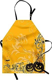 Ambesonne Halloween Apron, Carved Pumpkins with Floral Patterns Bats and Web Horror Jack o' Lantern Artwork, Unisex Kitchen Bib with Adjustable Neck for Cooking Gardening, Adult Size, Orange Black