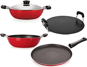 Nirlon Non-Stick Aluminium Tawas and Kadhai Combo Cookware Gift Set with Stainless Steel Lid, Bakelite Handle