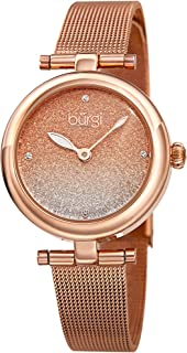 Burgi BUR231 Designer Women's Watch - Stainless Steel Mesh Strap – Swarovski Crystal Markers, Glitter Dial - Fashion Bracelet Wristwatch