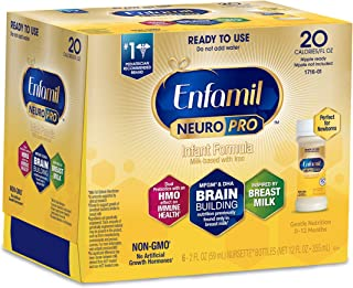 Enfamil NeuroPro Ready to Feed Baby Formula Milk Nursette, 2 fluid ounce (6 count) - Dual Prebiotic, Immune Support, MFGM, Omega 3 DHA