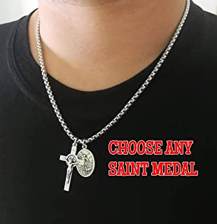 Religious Chain Necklace Catholic Saint Medal Cross Charm Men Women Kids - St Michael Benedict Francis Anthony Christopher Peregrine Sebastian Jude Miraculous Virgin Mary Jesus Padre Pio Anne Joseph