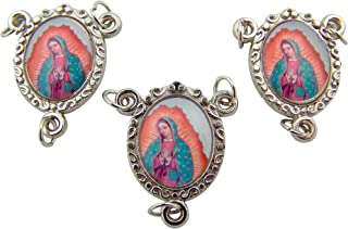 Lot of 3 Silver Toned 1 Inch Marian Icon OL Our Lady of Guadalupe Rosary Centerpiece