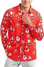 SATINIOR Men's Christmas Santa Claus Shirt Snowman Reindeer Long Sleeve 3D Printed Dress Shirt