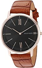 Tommy Hilfiger Men's Casual Stainless Steel Quartz Watch with Leather Strap, Brown, 19.3 (Model: 1791516)