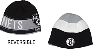 adidas Brooklyn Nets (TS375) Reversible Triple Threat Striped Knit Beanie Hat