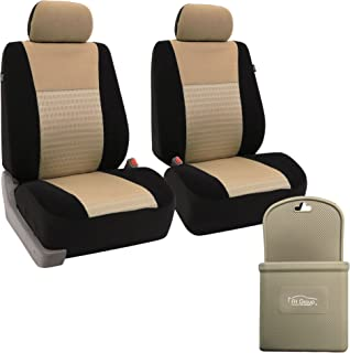 FH-FB060102 Trendy Elegance Car Seat Cover, s, Airbag & Split Ready w. FH3022 Silicone Steering Wheel Cover, Beige/Black Color - Fit Most Car, Truck, SUV, or Van
