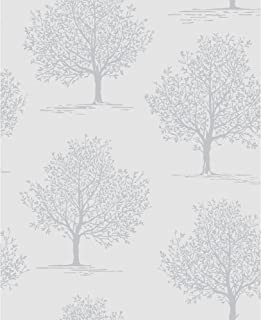 DL40577 - Glitz Room Soft Grey Trees Raised Print Fine Decor Wallpaper