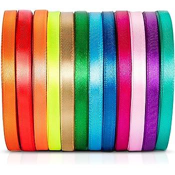 12PCS Ruban Satin Mixte Coloris 6mm x 23m environ Décoration Pour Diy, Mariage Fête et Emballage Cadeau Faire nœud Papillon