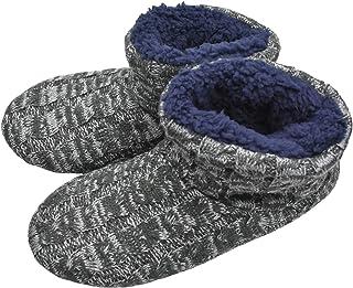 ONCAI Men's Handmade Woolen Yarn Indoor Slipper Boots Sherpa Lined