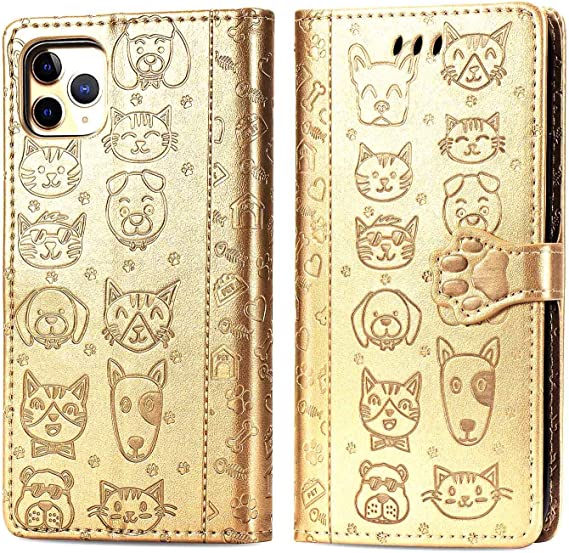 Compatible for iPhone 11 PU Leather Wallet Case,Embossed Dog Cat,[Hand Strap] [Stand Feature] TPU Shockof Flower Floral Credit Card Slot PU Leather Magnetic Closure Cover Case-Gold