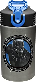 Zak Designs Marvel Black Panther - Stainless Steel Water Bottle with One Hand Operation Action Lid and Built-in Carrying Loop, Kids Water Bottle with Straw Spout is Perfect for Kids (15.5 oz,BPA-Free)