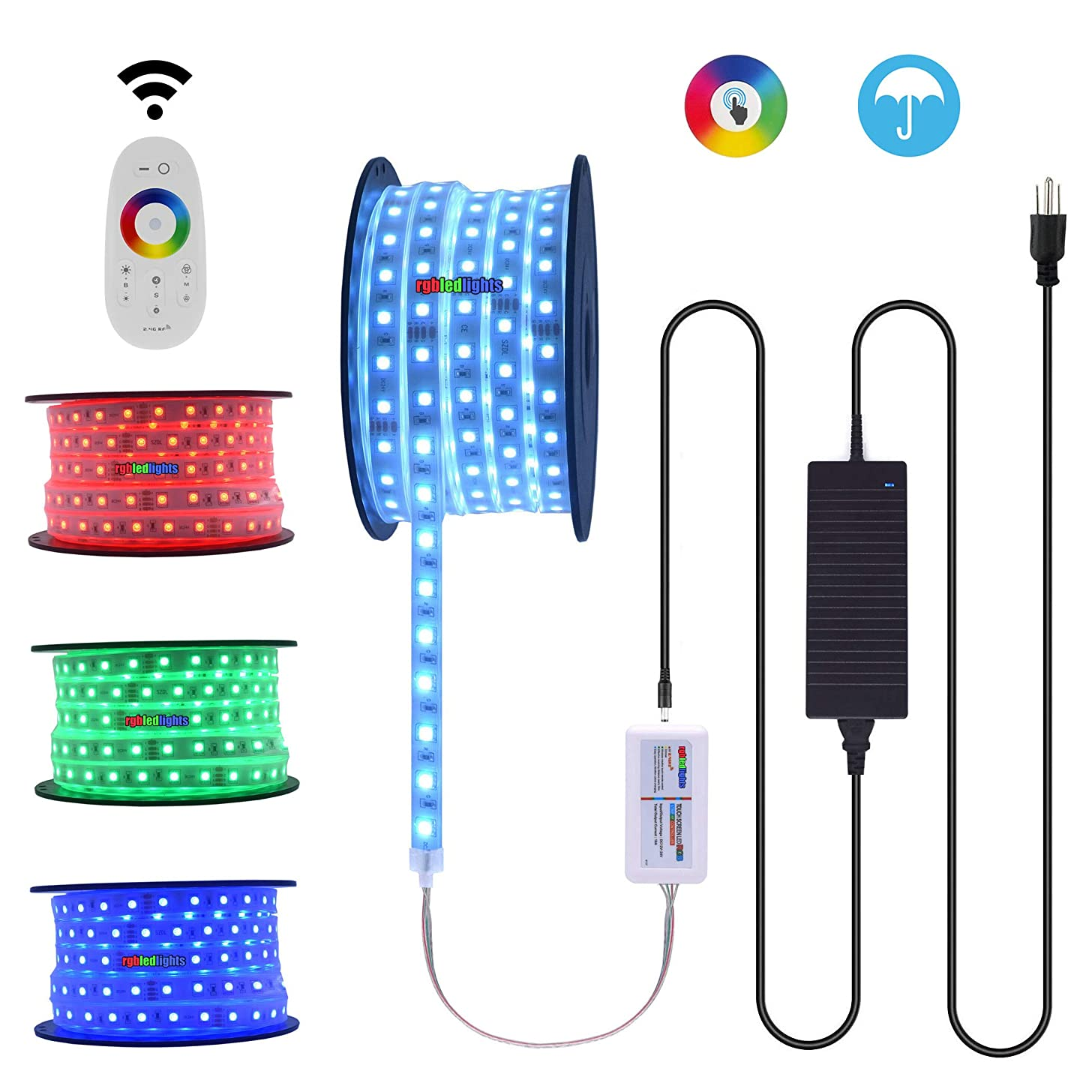 Waterproof 100Ft 24V Extra Long Run RGB LED Strip Light Kit Extended Length Rope String Light incl RF Wireless Touch Controller Under Cabinet Task & Patio Deck Railing Accent Lighting