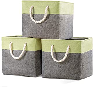 Prandom Large Foldable Cube Storage Baskets Bins 13x13 inch [3-Pack] Fabric Linen Collapsible Storage Bins Cubes Drawer with Cotton Handles Organizer for Shelf Toy Nursery Closet Bedroom(Green)…