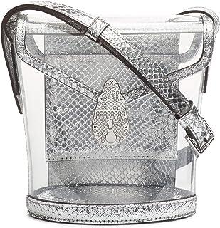 حقيبة يد صغيرة من الجلد مطبوع عليها شعار Calvin Klein Statement Series Lock Daytonna