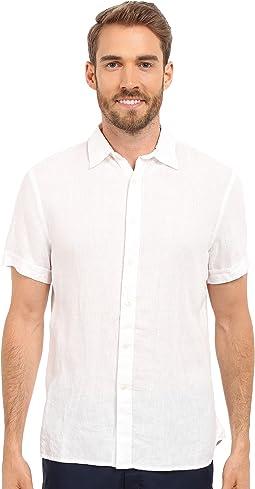 Perry Ellis - Short Sleeve Solid Linen Shirt