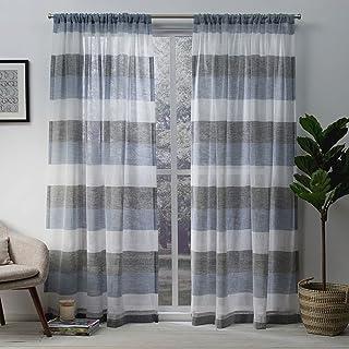 Exclusive Home Curtains Bern Sheer Rod Pocket Top Panel Pair, Indigo, 54x108, 2 Piece