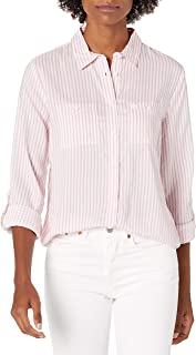 Women's Two Pocket Roll Sleeve Button Up Shirt