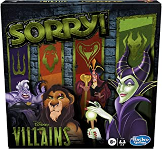 Hasbro Gaming Sorry! Board Game: Disney Villains Edition Kids Game, Family Games for Ages 6 and Up (Amazon Exclusive)
