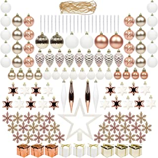 ITART 143ct Christmas Tree Ornaments Decorations Assortment Including Tree Topper Balls Clear Icicles Snowflakes Stars Pine Cones Miniature Gift Boxes and Beads Garlands Finial (Rose Gold)