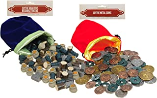 Scythe Metal Coins and Scythe Realistic Resource Tokens || for Scythe Game || Bonus Blue and Red Velvet Drawstring Pouches || Bundled Items