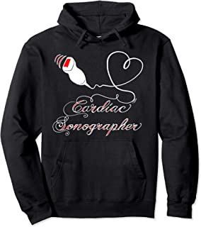 Cardiac Sonographer Heart White Medical on Pullover Hoodie