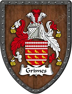 Grimes I Family Crest Custom Coat of Arms, Family Ancestry and Heritage Hanging Metal Wall Plaque Shield - Hand Made in the USA