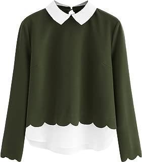 Women's Contrast Collar Hem Long Sleeve Blouse Top