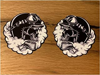 24/7stickers #687 / 2X Aufkleber je 9x8,5cm Skull Totenkopf V2 Biker Custom Chopper Cafe Racer Bobber Tankaufkleber Motorrad Auto Tuning Racing USA V8
