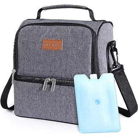Lifewit Lunchtasche Mittagessen Tasche Thermotasche Kühltasche Isoliertasche Picknicktasche für Lebensmitteltransport 7L (Grau)