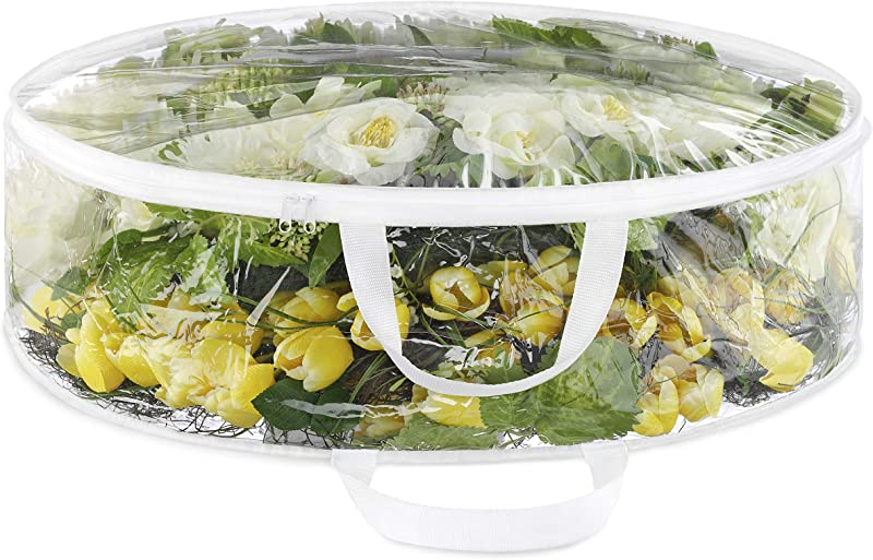Whitmor Clear Everyday Bag Stores Two 30 Inch Wreaths Seasonal Storage For Easter Fourth Of July Fall Christmas 30 Inch