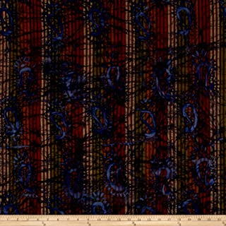 Textile Creations Olive/Brown/Wine Indian Batik Woven Paisley Fabric by The Yard