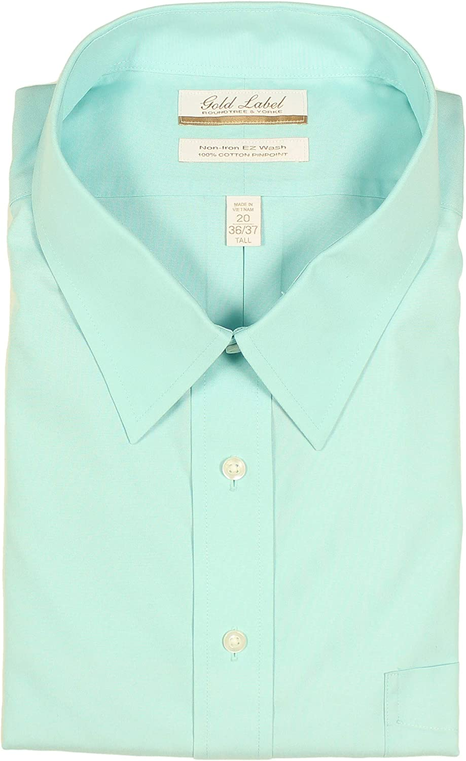 Gold Label Men's Big and Tall Non-Iron Wrinkle Resistant Easy-Care Pinpoint Dress Shirt, Point Collar