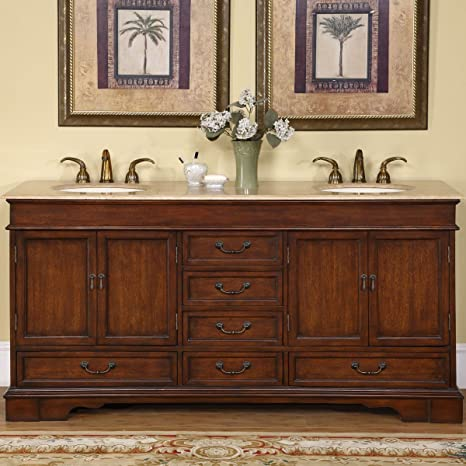 Amazon Com Silkroad Exclusive Travertine Stone Top Double Sink Bathroom Vanity With Cabinet 72 Brown Home Kitchen