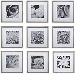 """Gallery Perfect Gallery Wall Kit Square Photos with Hanging Template Picture Frame Set, 8"""" x 8"""", Gray, 9 Piece"""