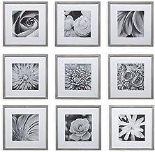 لوحة فنية مربعة الشكل من Gallery Perfect Square Decorative Art Prints & Hanging Temone، 9 قطع Greywash إطار صورة جدارية ، ...