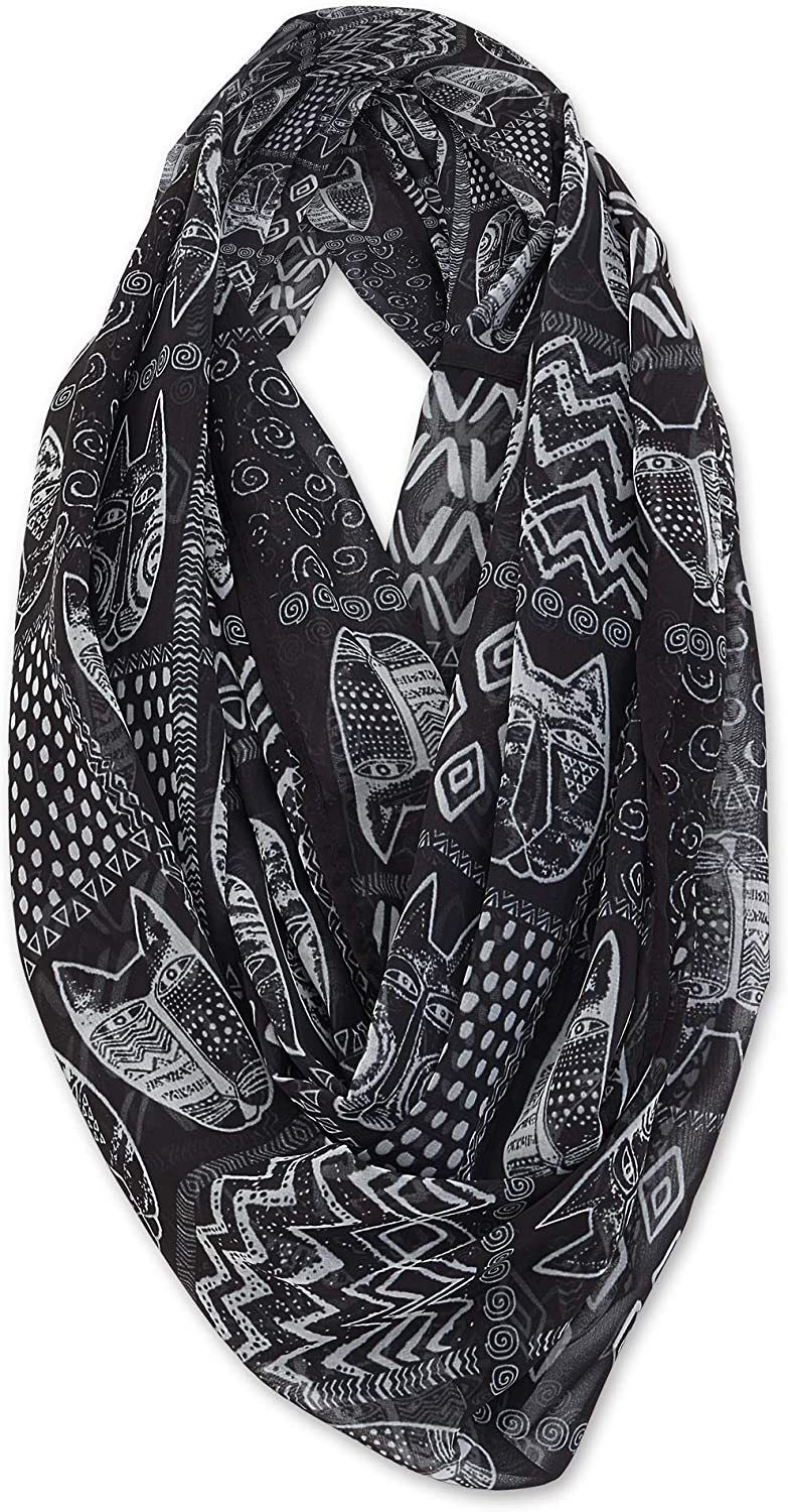 Laurel Burch Artistic Infinity Scarf Collection (Black White Cats)