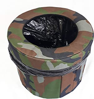 簡易トイレ 災害用 アウトドア 迷彩色 折り畳み 車内 緊急用トイレ 渋滞 断水 汚物袋 収納袋 円形