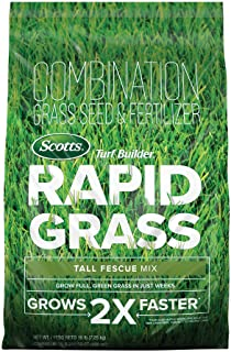Scotts Turf Builder Rapid Grass Tall Fescue Mix: up to 5,280 sq. ft., Combination Seed & Fertilizer, Grows in Just Weeks, ...