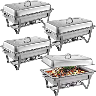 Pack of 4 Chafing Dish Buffet Complete Set, Stainless Steel Chafer And Buffet Food Warmer Sets with Water Pan, Food Pan, F...