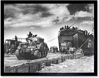 War WWII USA UK USS LST-21 British Tanks D-Day 1944 Photo Art Print Framed Poster Wall Decor 12x16 inch